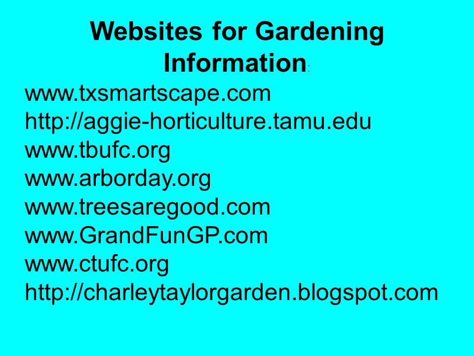 Websites for Gardening Information: