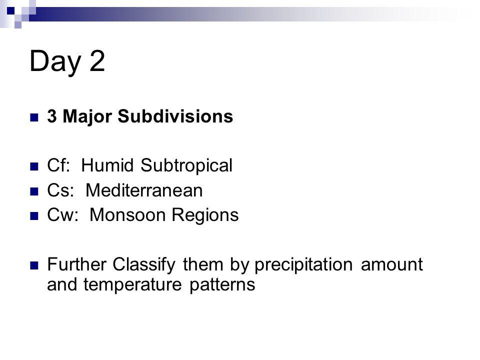 Day 2 3 Major Subdivisions Cf: Humid Subtropical Cs: Mediterranean