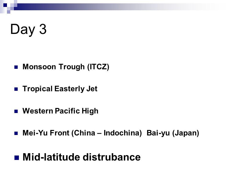 Day 3 Mid-latitude distrubance Monsoon Trough (ITCZ)