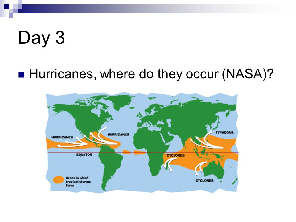 Day 3 Hurricanes, where do they occur (NASA)