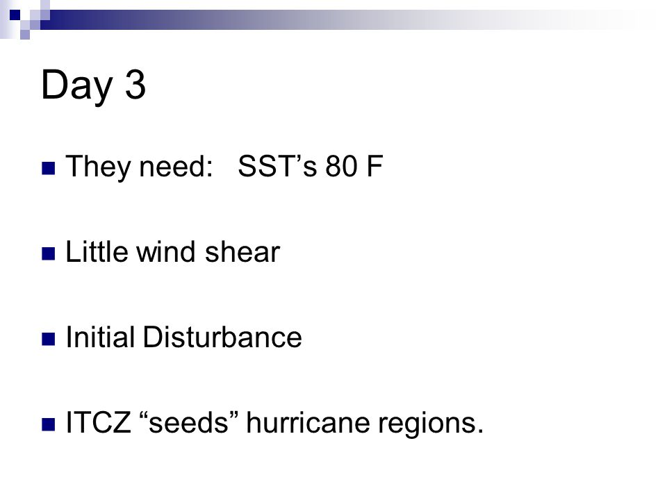 Day 3 They need: SST's 80 F Little wind shear Initial Disturbance