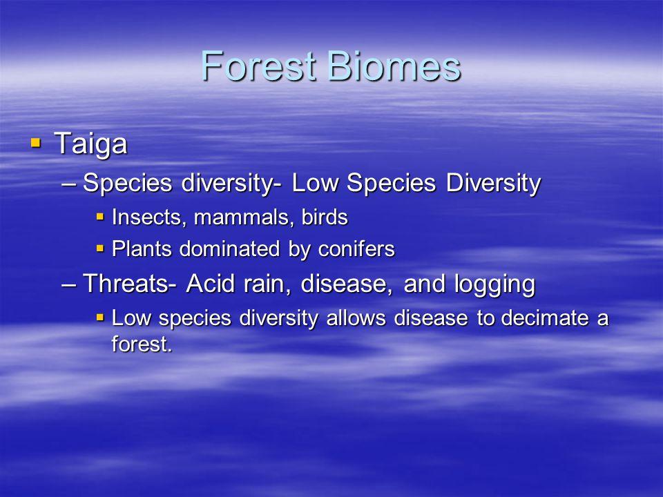 Forest Biomes Taiga Species diversity- Low Species Diversity