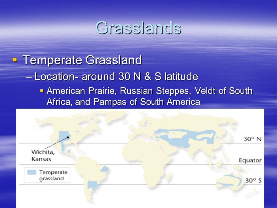 Grasslands Temperate Grassland Location- around 30 N & S latitude
