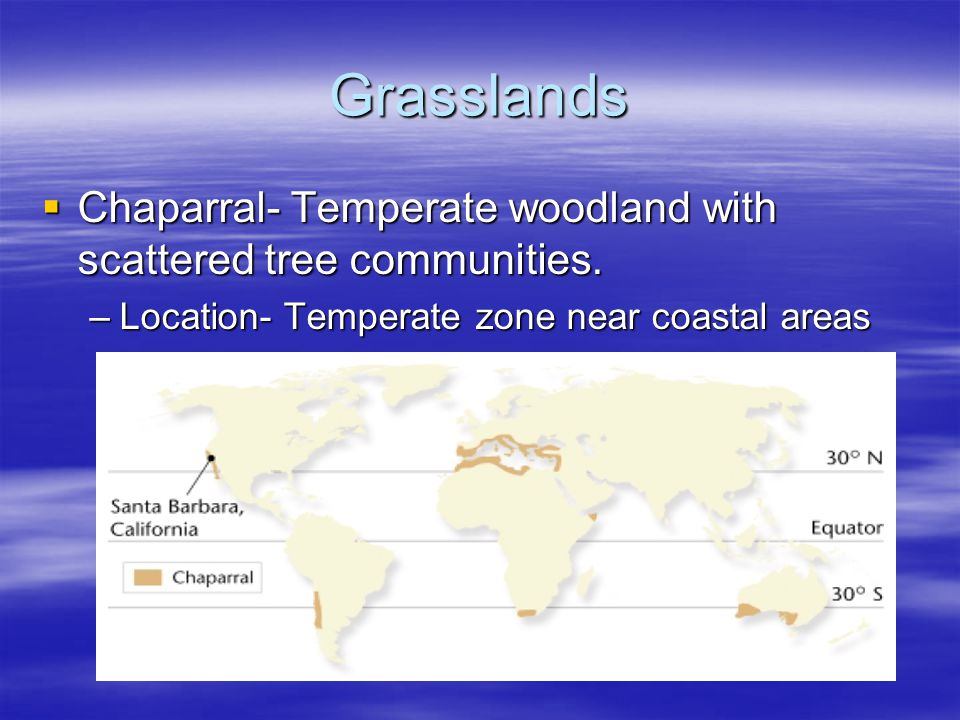 Grasslands Chaparral- Temperate woodland with scattered tree communities.
