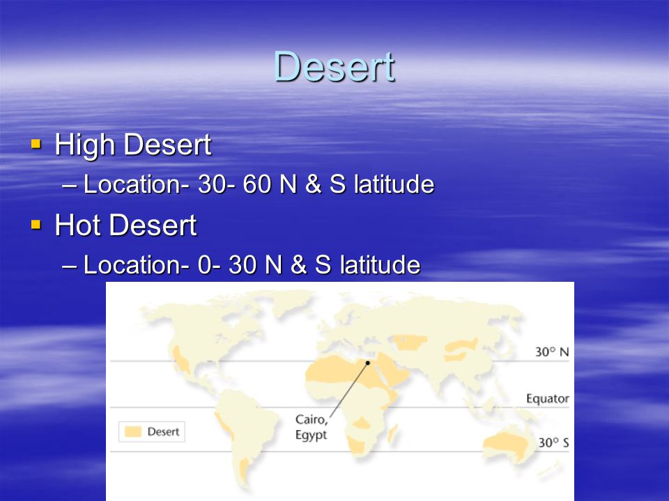Desert High Desert Hot Desert Location N & S latitude