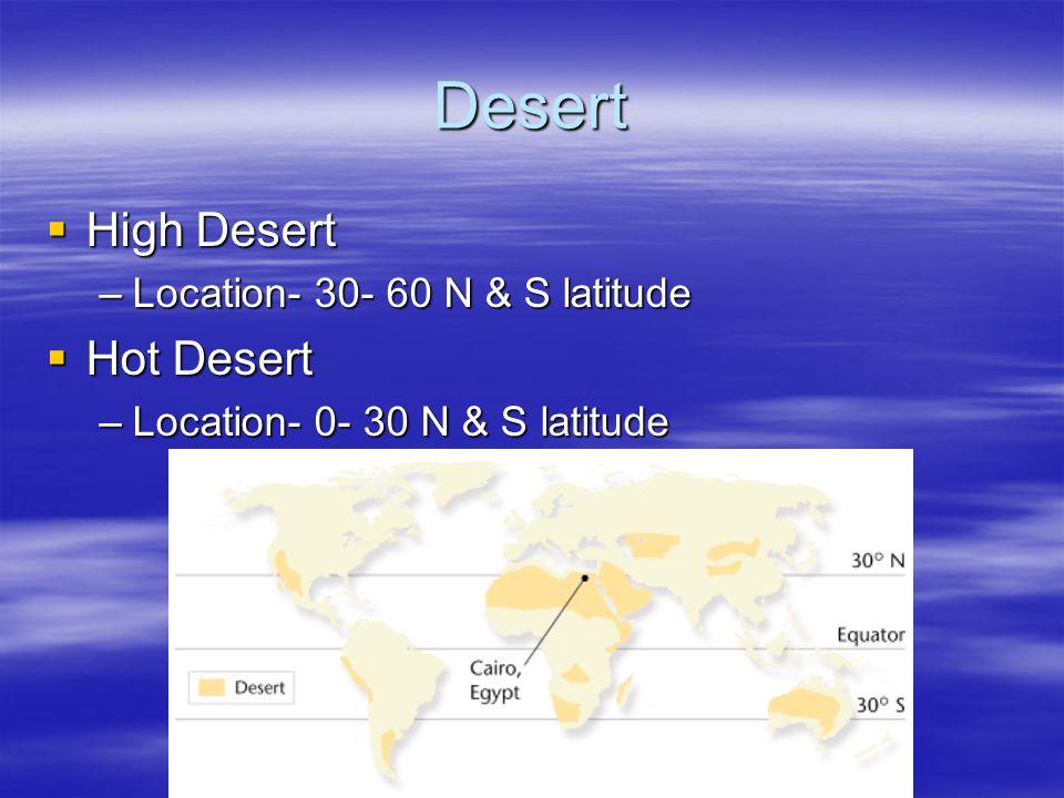Desert High Desert Hot Desert Location- 30- 60 N & S latitude