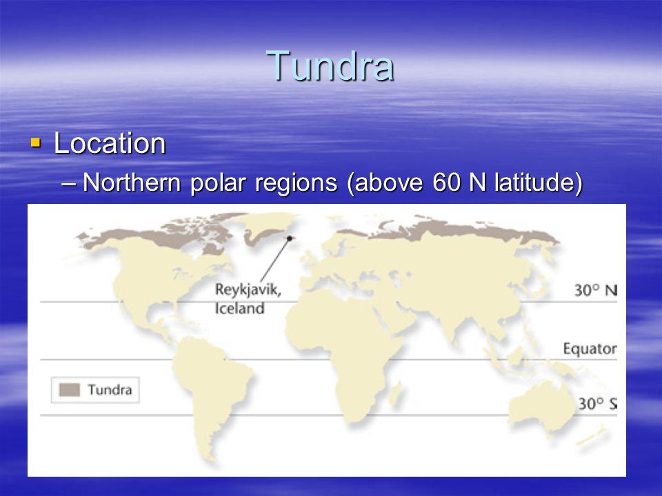 Tundra Location Northern polar regions (above 60 N latitude)