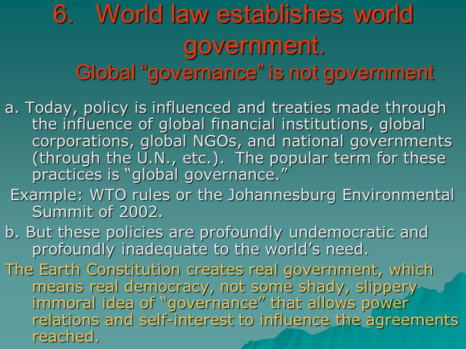 World law establishes world government