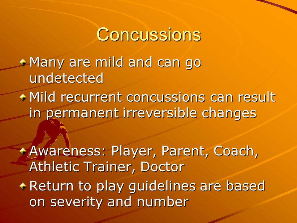 Concussions Many are mild and can go undetected