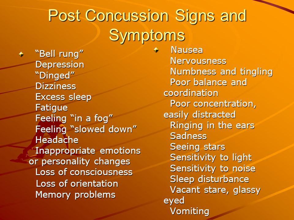 Post Concussion Signs and Symptoms