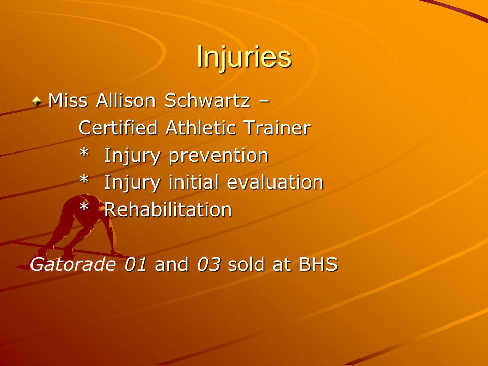 Injuries Miss Allison Schwartz – Certified Athletic Trainer