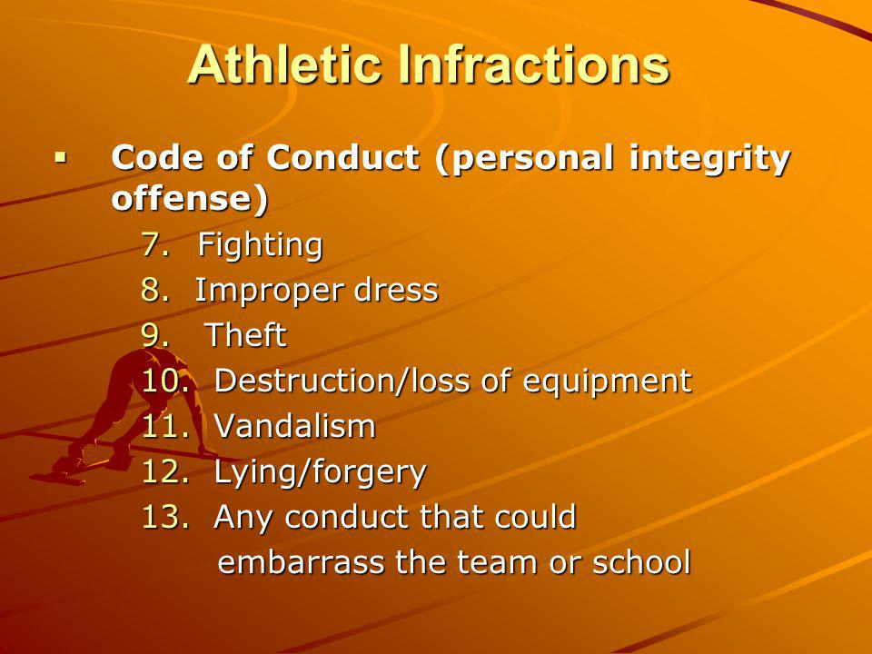 Athletic Infractions Code of Conduct (personal integrity offense)