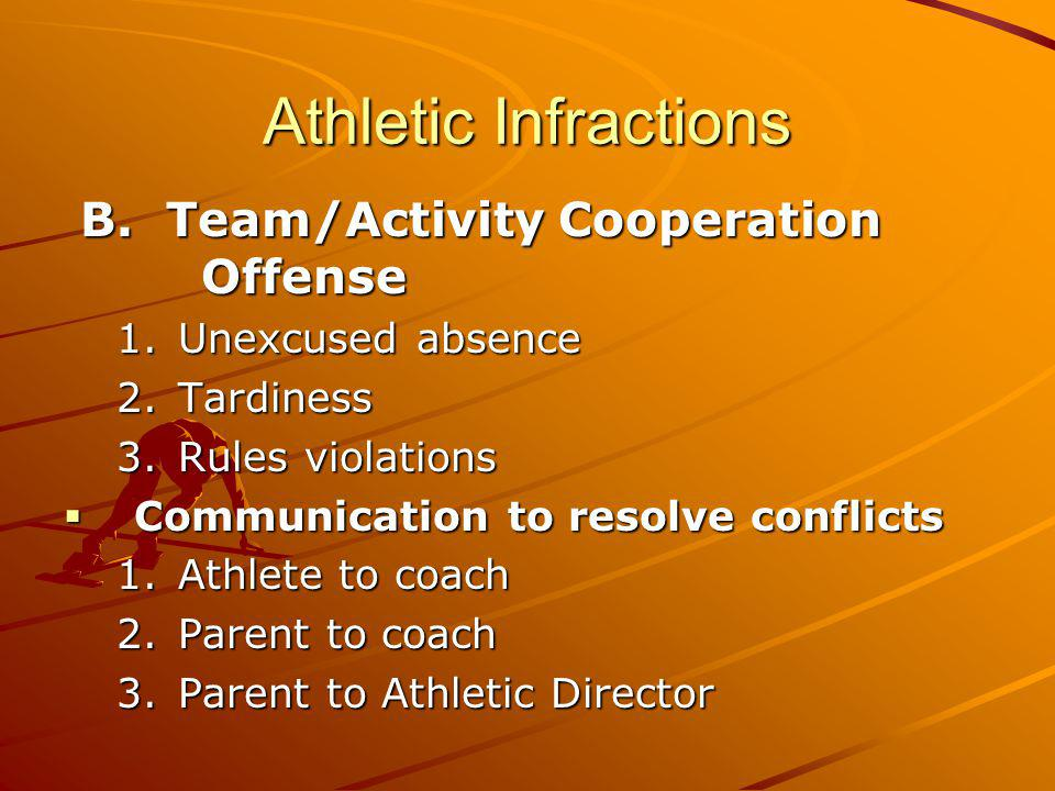 Athletic Infractions B. Team/Activity Cooperation Offense