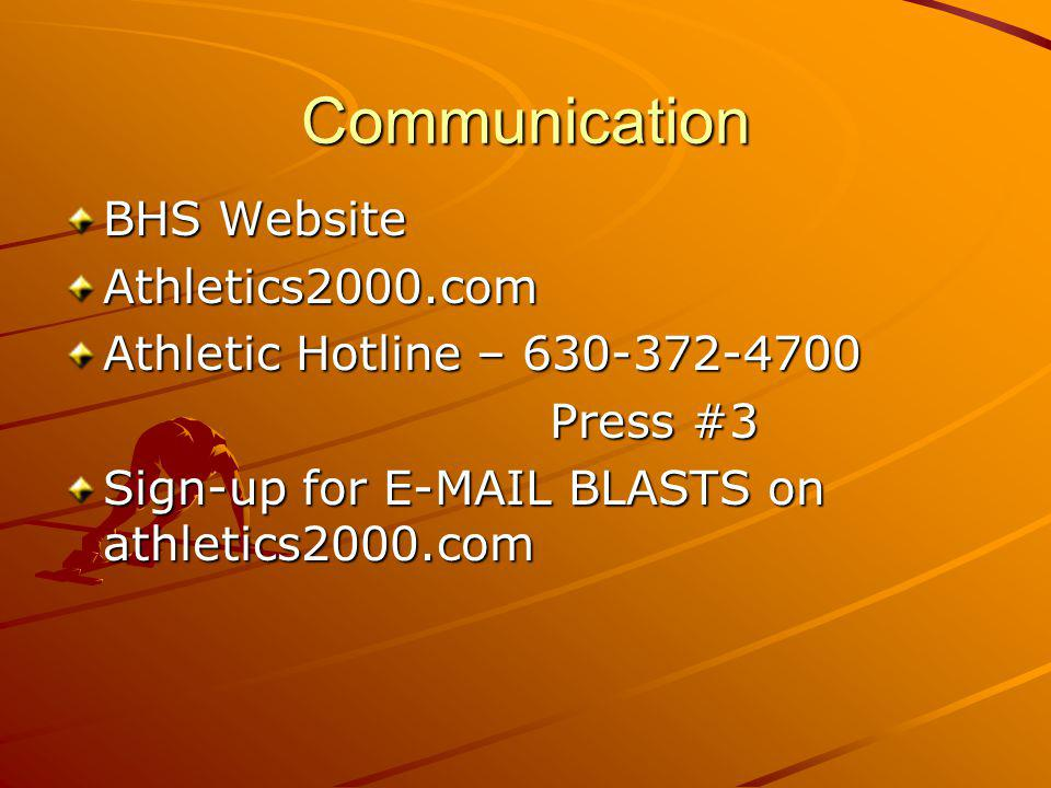 Communication BHS Website Athletics2000.com