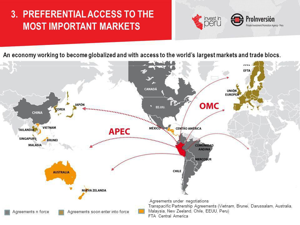 PREFERENTIAL ACCESS TO THE MOST IMPORTANT MARKETS