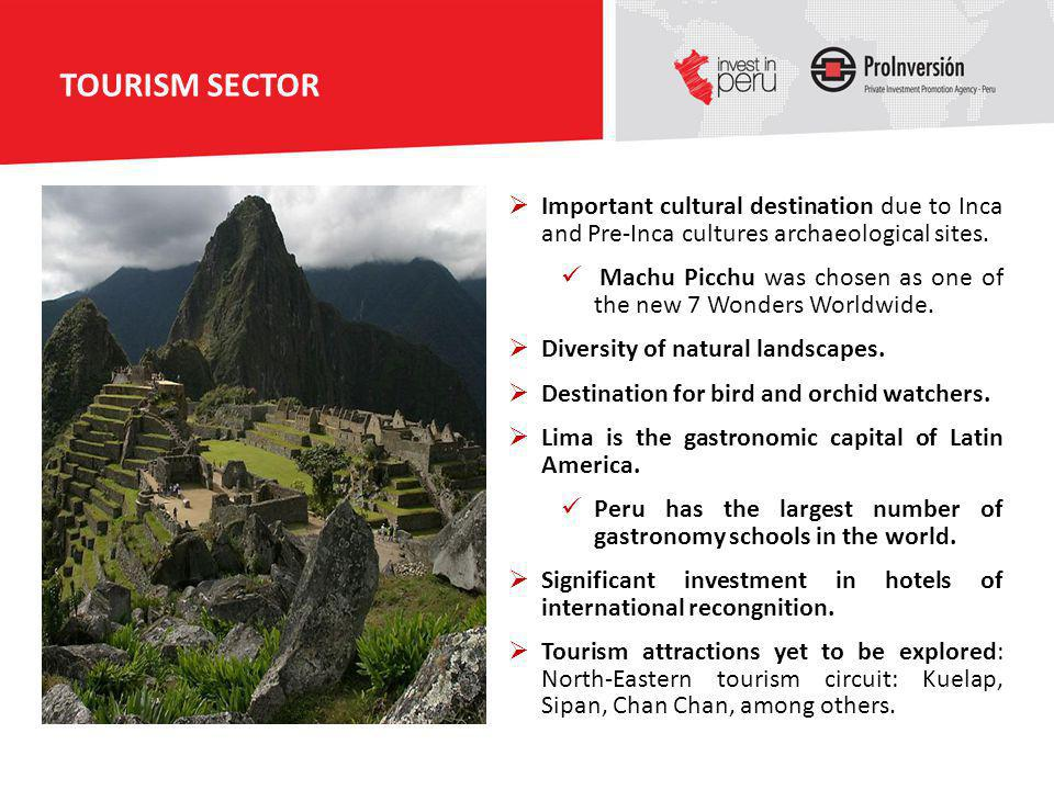 TOURISM SECTOR Important cultural destination due to Inca and Pre-Inca cultures archaeological sites.