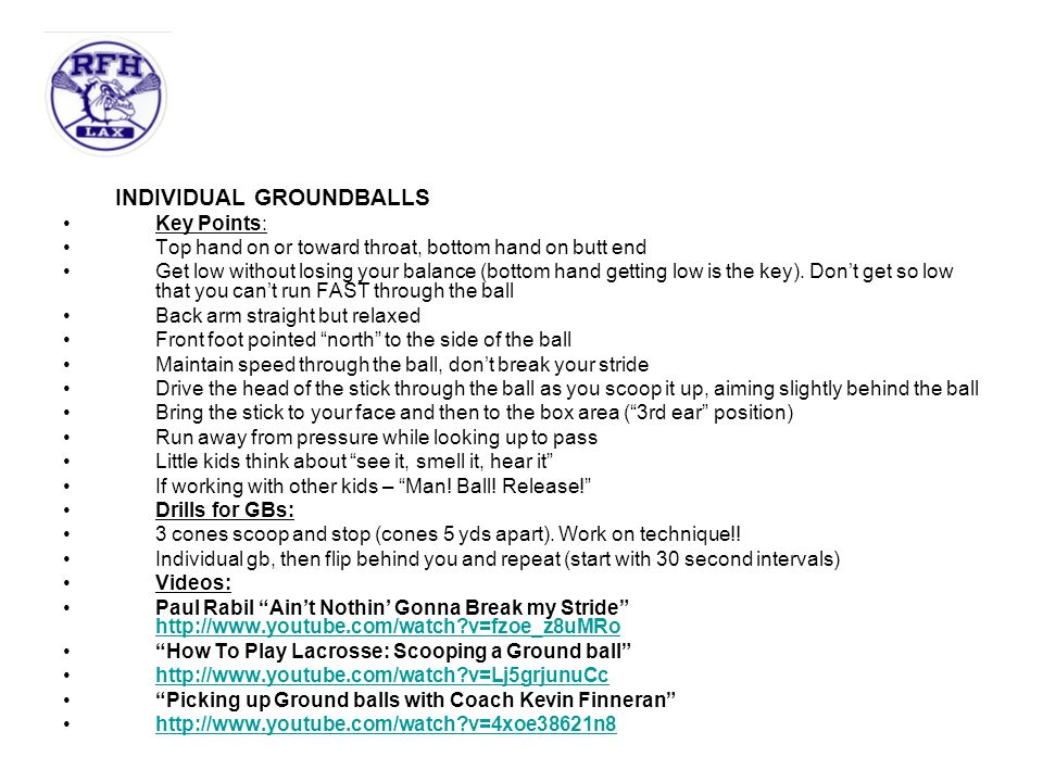 INDIVIDUAL GROUNDBALLS