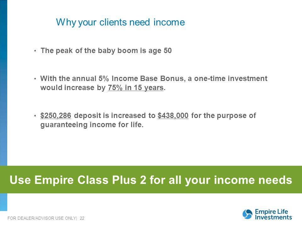 Why your clients need income