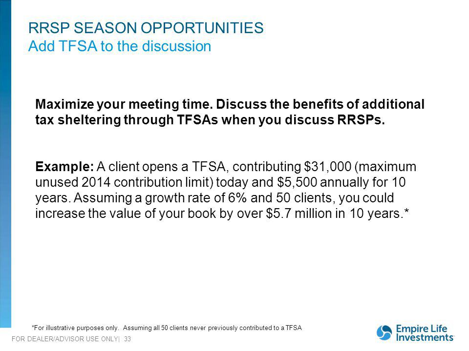 RRSP SEASON OPPORTUNITIES Add TFSA to the discussion