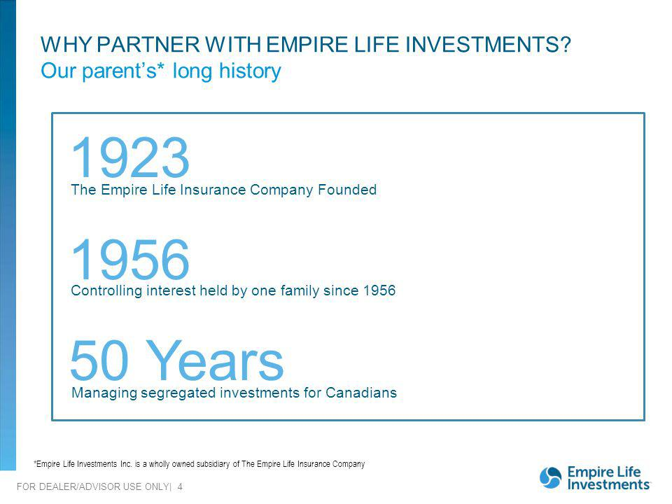 WHY PARTNER WITH EMPIRE LIFE INVESTMENTS Our parent's* long history