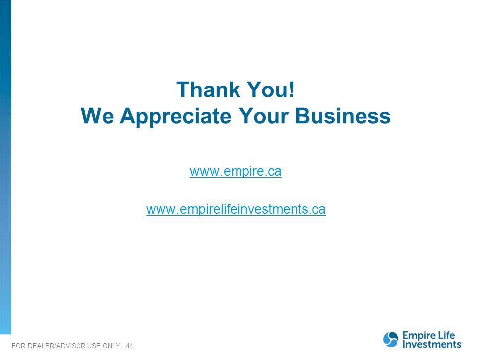 We Appreciate Your Business
