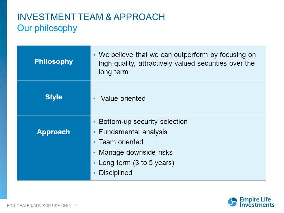 INVESTMENT TEAM & APPROACH Our philosophy
