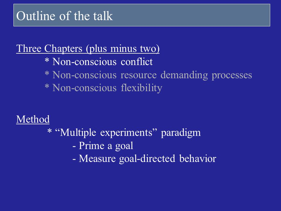Outline of the talk Three Chapters (plus minus two)
