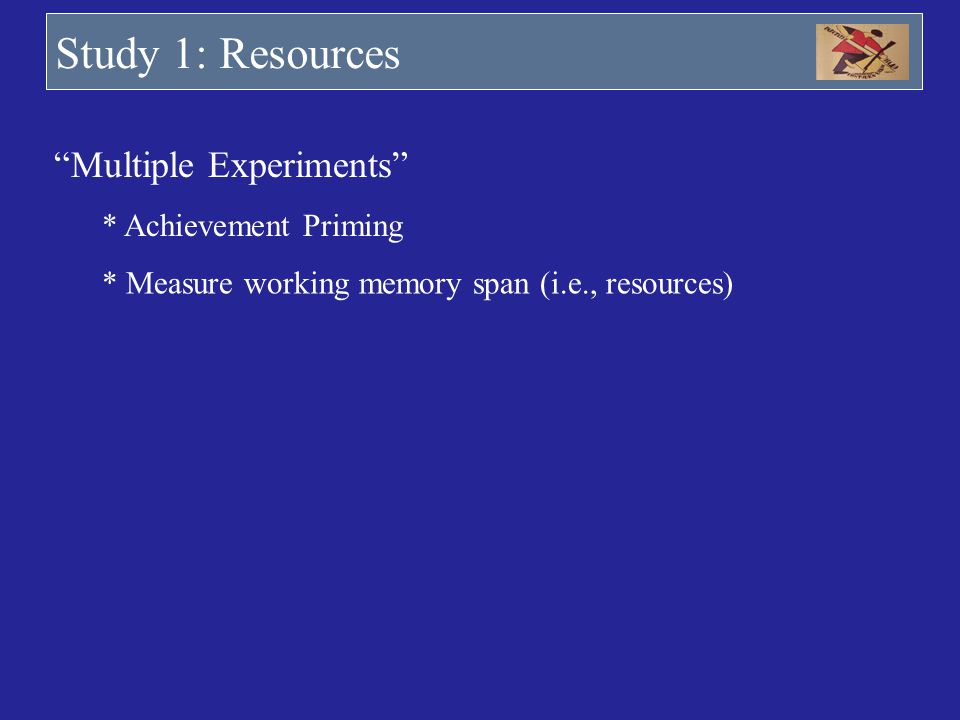 Study 1: Resources Multiple Experiments * Achievement Priming