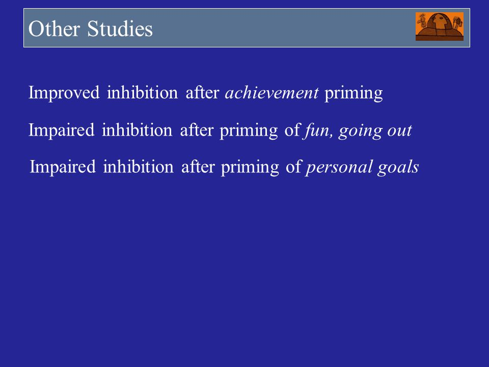 Other Studies Improved inhibition after achievement priming
