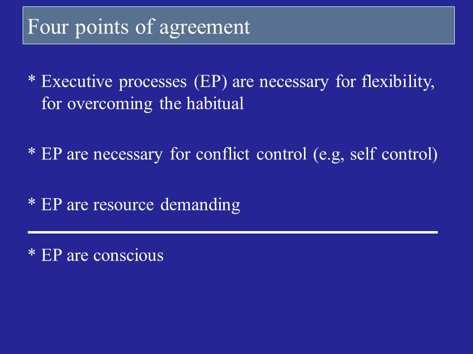 Four points of agreement