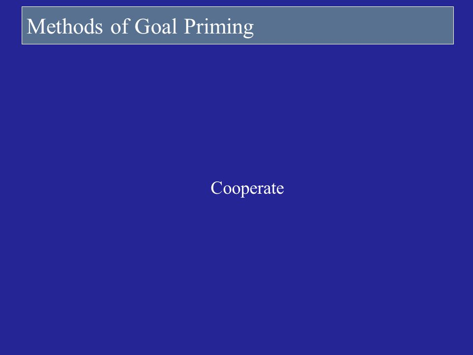 Methods of Goal Priming