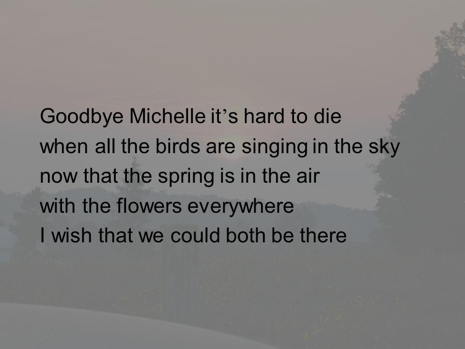 Goodbye Michelle it's hard to die
