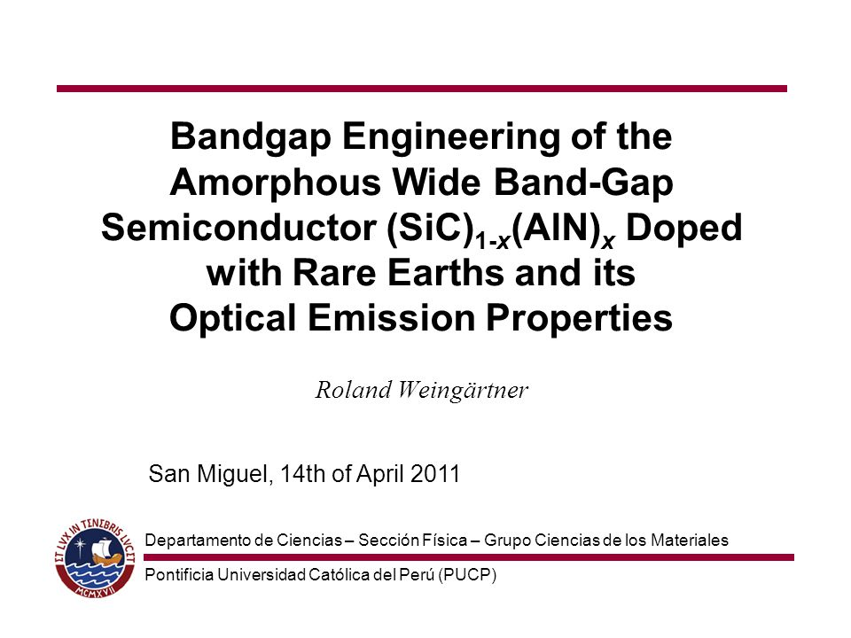 Bandgap Engineering of the Amorphous Wide Band-Gap Semiconductor (SiC)1-x(AlN)x Doped with Rare Earths and its Optical Emission Properties