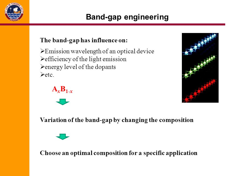 Band-gap engineering AxB1-x The band-gap has influence on: