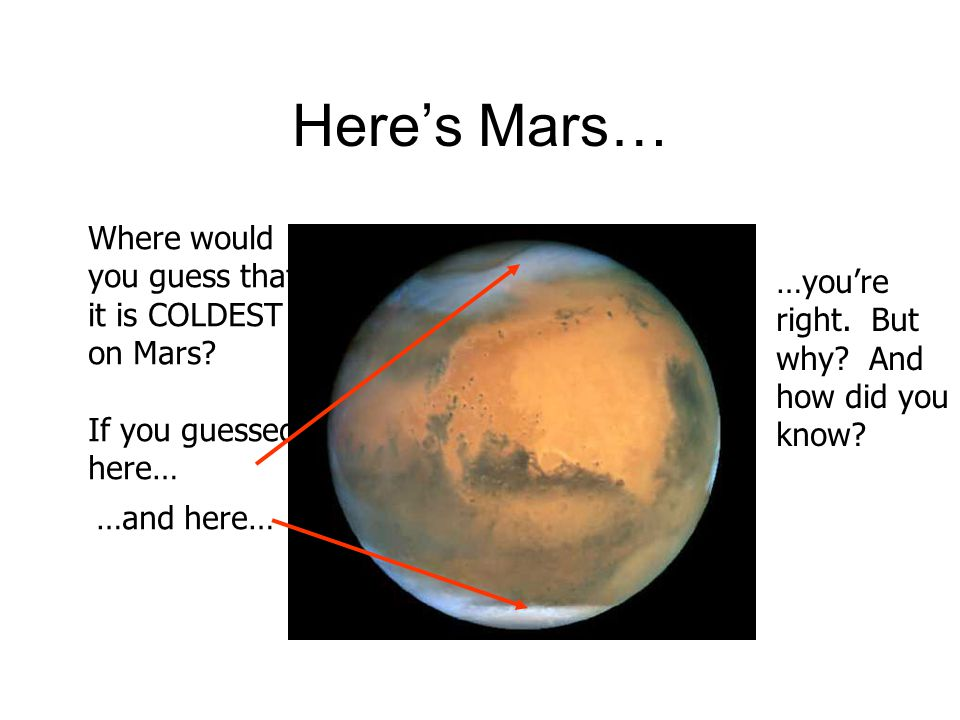 Here's Mars… Where would you guess that it is COLDEST …you're on Mars