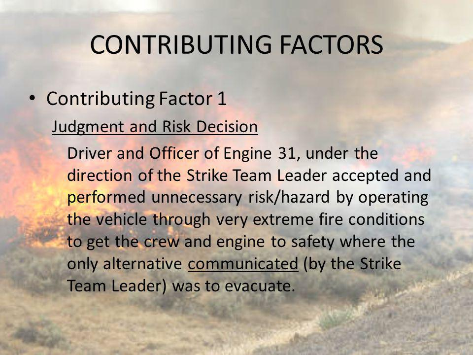 CONTRIBUTING FACTORS Contributing Factor 1 Judgment and Risk Decision