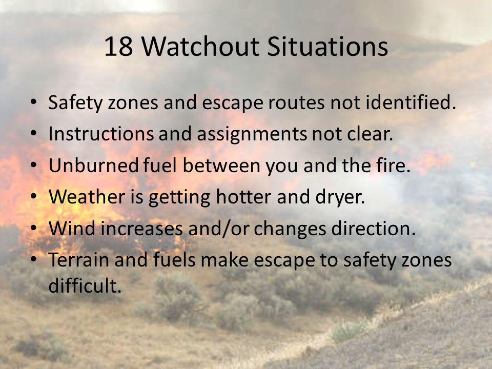 18 Watchout Situations Safety zones and escape routes not identified.