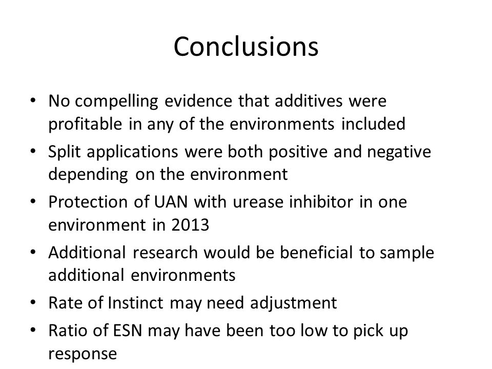 Conclusions No compelling evidence that additives were profitable in any of the environments included.