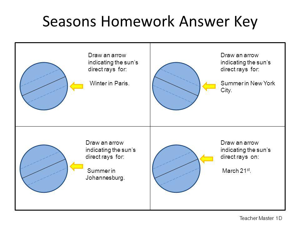 Seasons Homework Answer Key