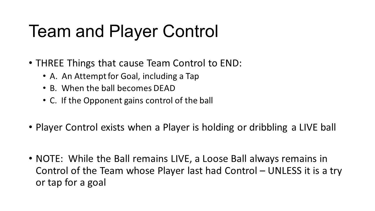 Team and Player Control