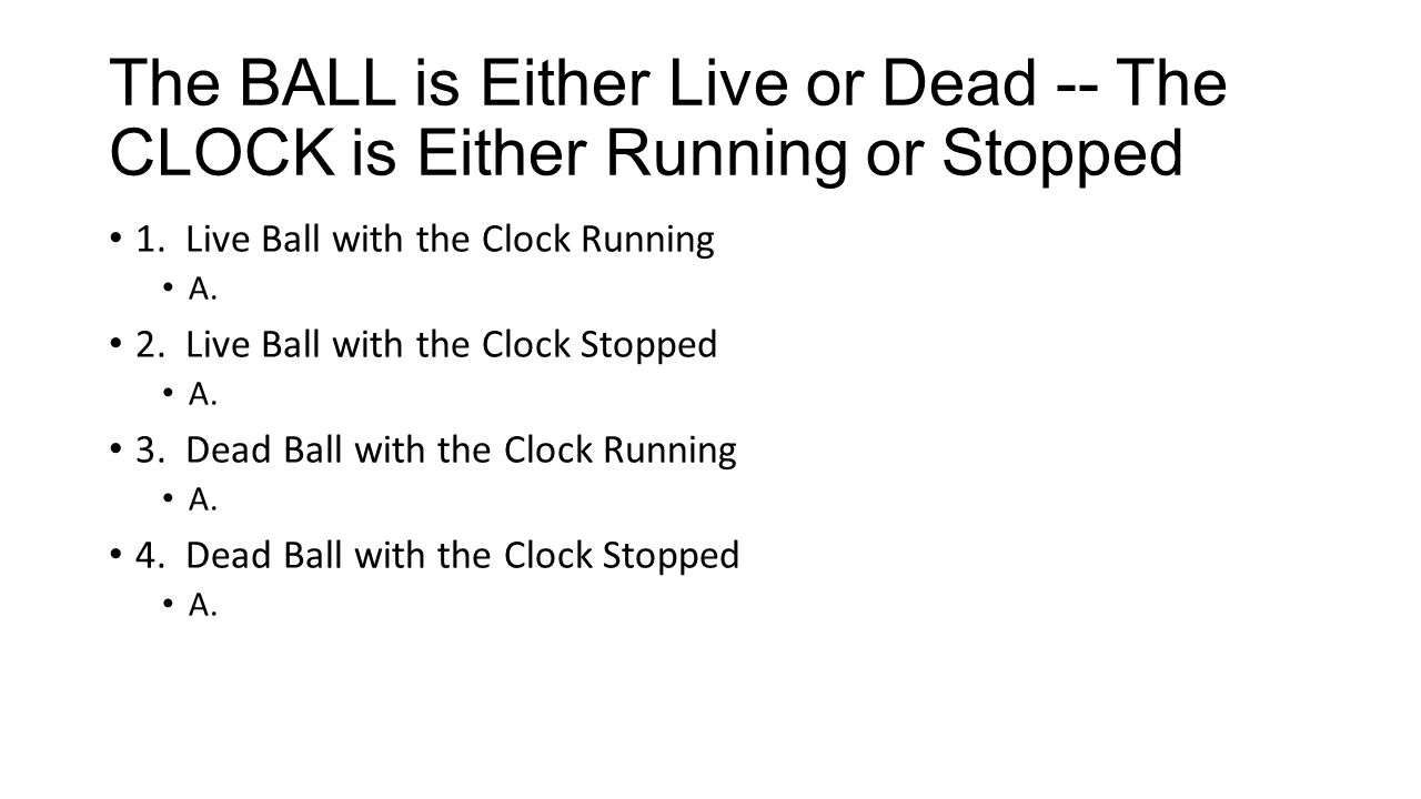The BALL is Either Live or Dead -- The CLOCK is Either Running or Stopped