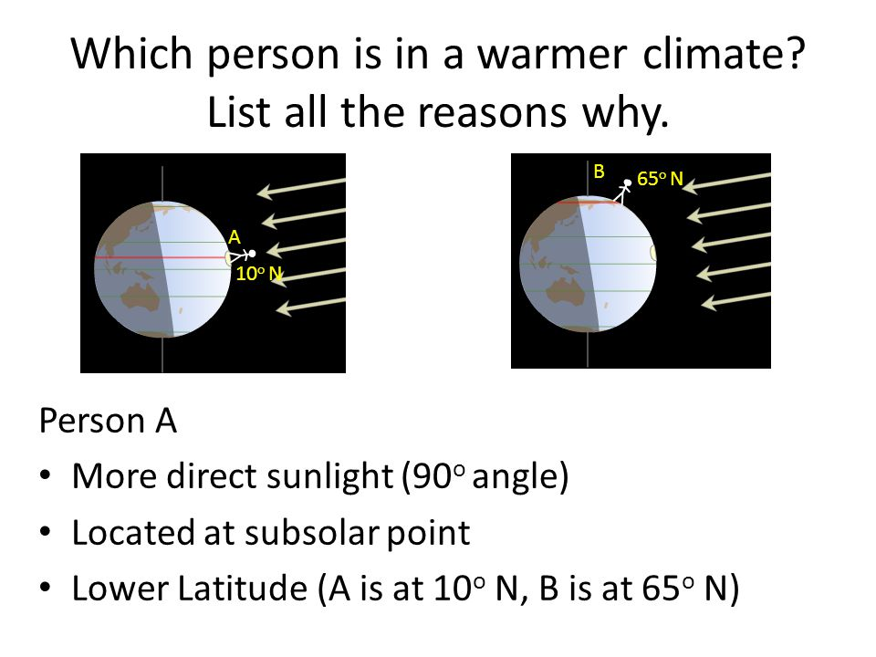 Which person is in a warmer climate List all the reasons why.