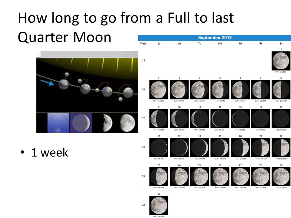 How long to go from a Full to last Quarter Moon