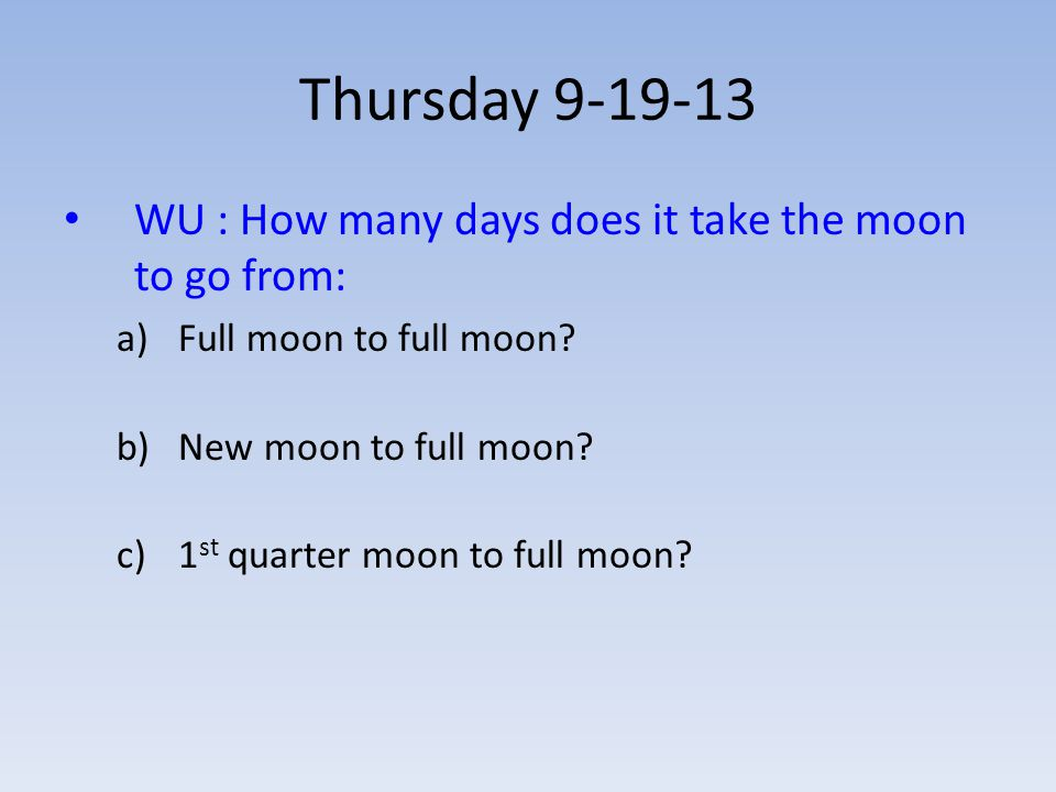 Thursday 9-19-13 WU : How many days does it take the moon to go from: