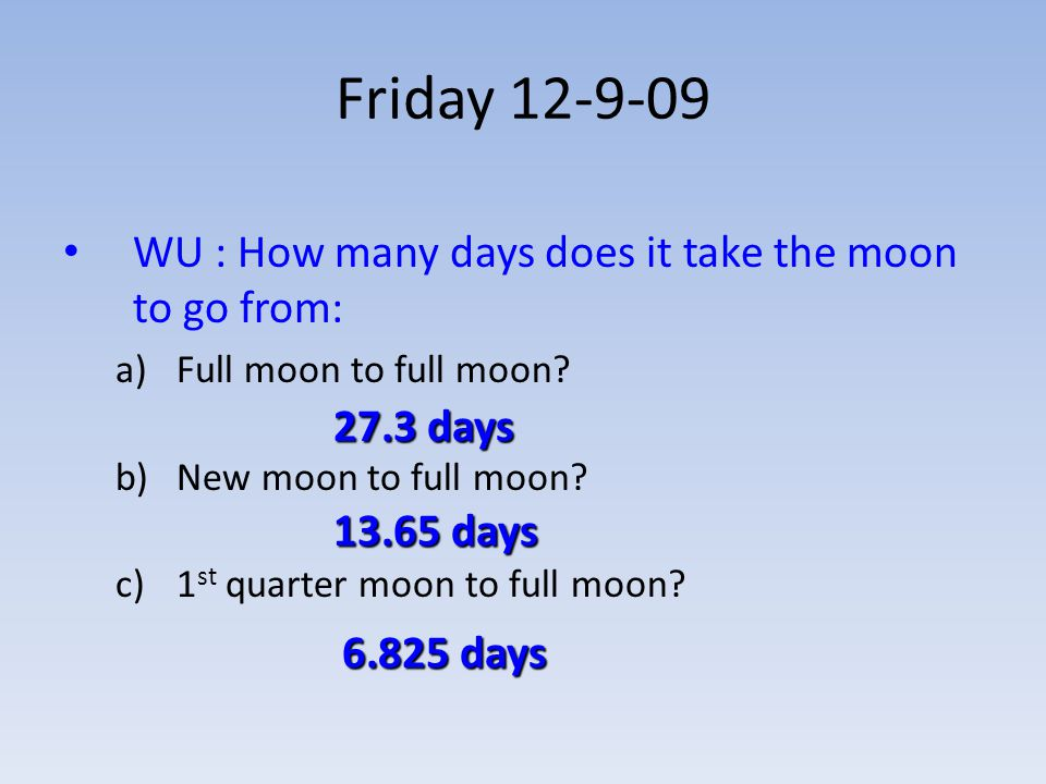 Friday 12-9-09 WU : How many days does it take the moon to go from: