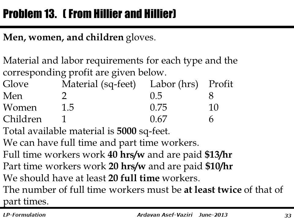 Problem 13. ( From Hillier and Hillier)