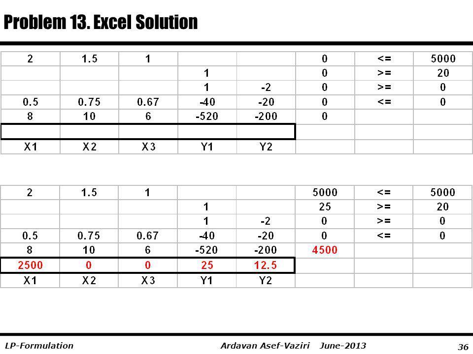 Problem 13. Excel Solution