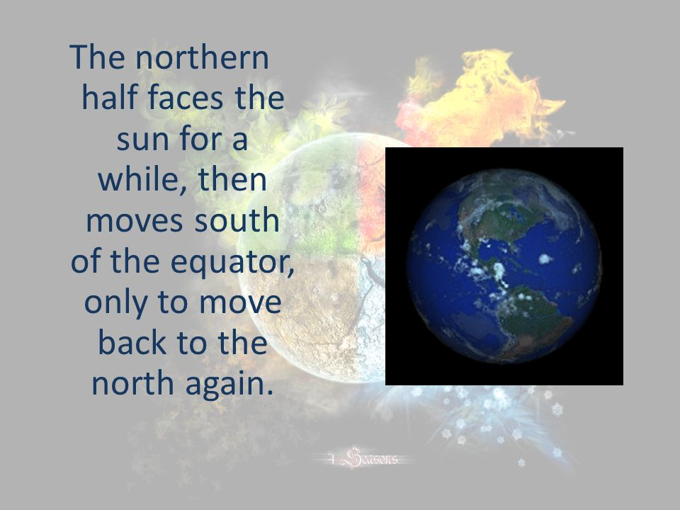 The northern half faces the sun for a while, then moves south of the equator, only to move back to the north again.