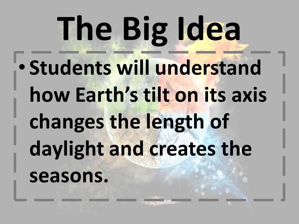 The Big Idea Students will understand how Earth's tilt on its axis changes the length of daylight and creates the seasons.