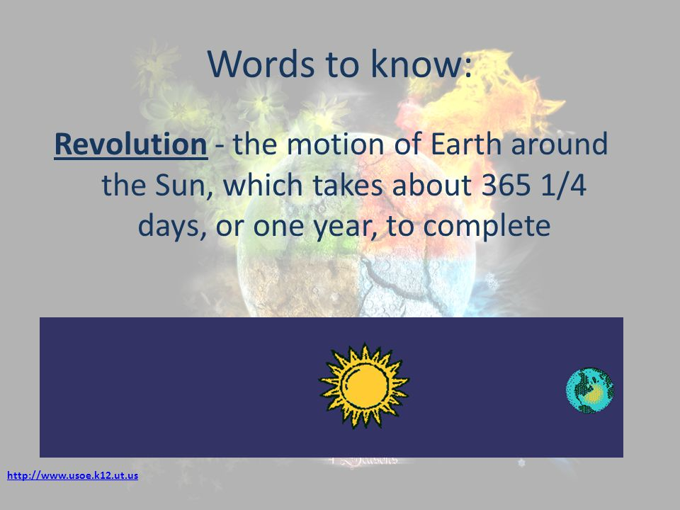 Words to know: Revolution - the motion of Earth around the Sun, which takes about 365 1/4 days, or one year, to complete.